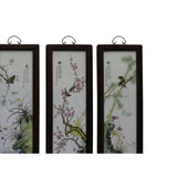 Chinese Color Porcelain Flower Birds Wood Wall Panels Set cs4985S