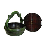 Chinese Green & Red Color Handle Round Wood Bucket Basket cs4993S