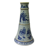Chinese Blue & White Porcelain Round Scenery Graphic  Candle Holder cs4996S