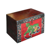 Chinese Vintage Red Black Graphic Theme Trunk Box Chest cs5000S
