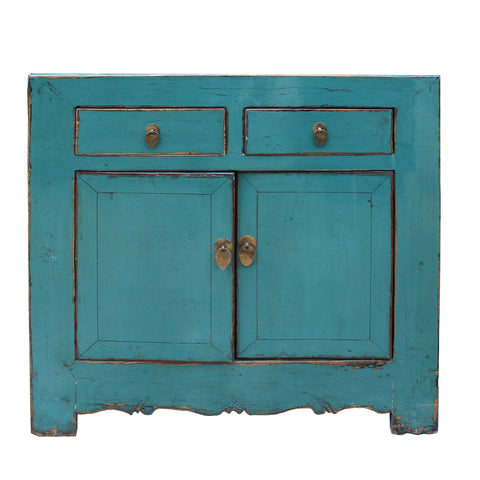vanity cabinet - side table - turquoise blue cabinet