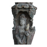 Chinese Rustic Finish Wood Buddha Kwan Yin 3 Sides Statue cs5026S