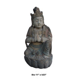 Chinese Rustic Distressed Finish Wood Kwan Yin Statue cs5028S