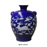 Handmade Ceramic Blue White Dimensional Deer Pattern Vase Jar cs5032S