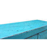Chinese Distressed Rustic Turquoise Aqua Blue Foyer Console Table Cabinet cs5080