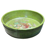 round bucket - wood tray - green wood box