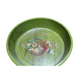 Chinese Vintage Distressed Green Graphic Round Shape Wood Bucket cs5092S