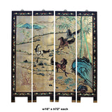 Oriental Dimensional Relief Horses Motif Golden Background Wall 4 Panels Set cs5100S