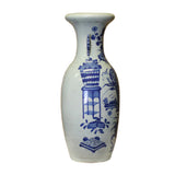 Chinese Handmade Light Pale Blue Porcelain Flower Graphic Vase cs5101S