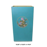 Light Blue Turquoise Square Flower Bird Graphic Bucket cs5105S