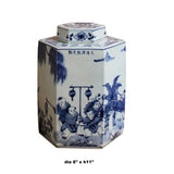 Chinese Blue & White Porcelain Oriental Scenery Hexagon Jar Container cs5110S