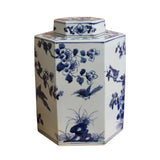 blue white jar - hexagon jar - Porcelain box