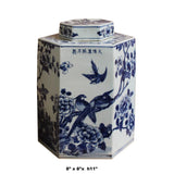 Chinese Blue & White Porcelain Oriental Scenery Hexagon Jar Container cs5111S