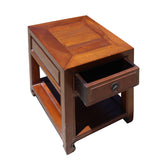 Chinese Oriental Brown Simple Ming Style End Table Nightstand cs5137S