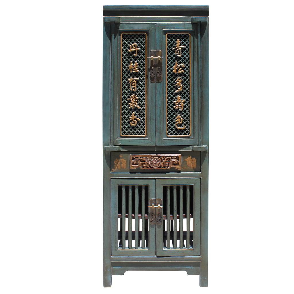 Chinese Distressed Teal Gray Blue Narrow Wood Carving Storage Cabinet Golden Lotus Antiques