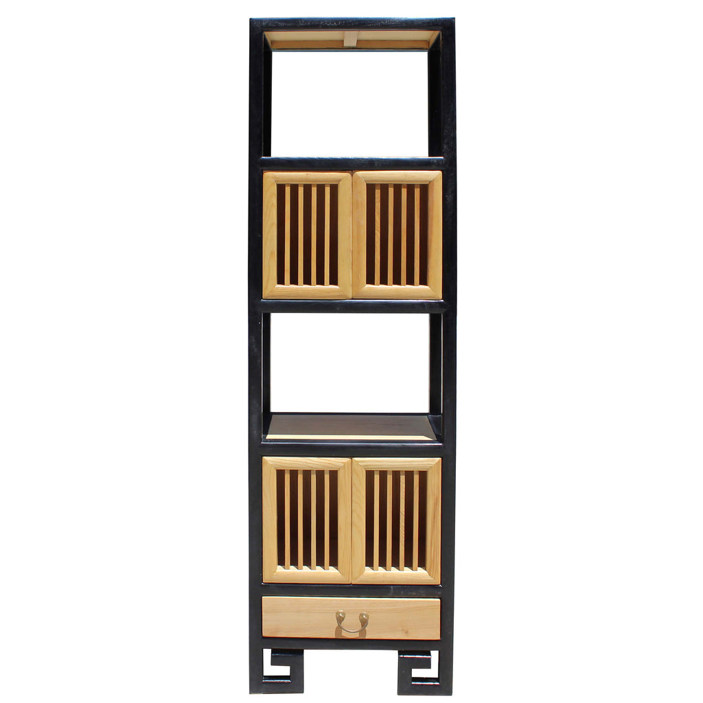 Oriental Black Rim Natural Wood Narrow Storage Display Bookcase Cabinet Cs5156s