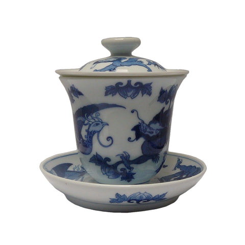 Chinese Blue & White Porcelain Hand Painted Dragon Phoenix Tea Cup Set cs515S
