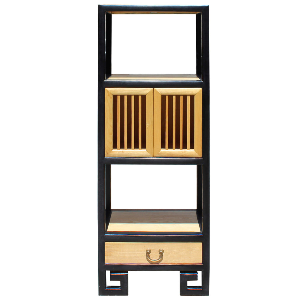 Oriental Black Rim Natural Wood Narrow Storage Display Bookcase Cabinet Cs5163s