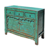 Chinese Distressed Bright Aqua Green 3 Drawers Sideboard Table Cabinet cs5166S