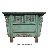Chinese Vintage 2 Drawers Carving Distressed Gray Blue Side Table Cabinet cs5174S
