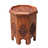 Asian Octagon Floral Relief Carving Side Table Stand cs5184S