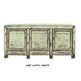 Chinese Distressed Cream Lemon Yellow High Credenza Console Buffet Table cs5186S