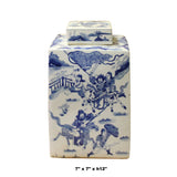 Chinese Blue White Square Porcelain People Scenery Accent Jar cs5203S