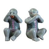 Chinese Vintage Oriental Three Monkey Ceramic Figures Set Do No Evil cs5210S