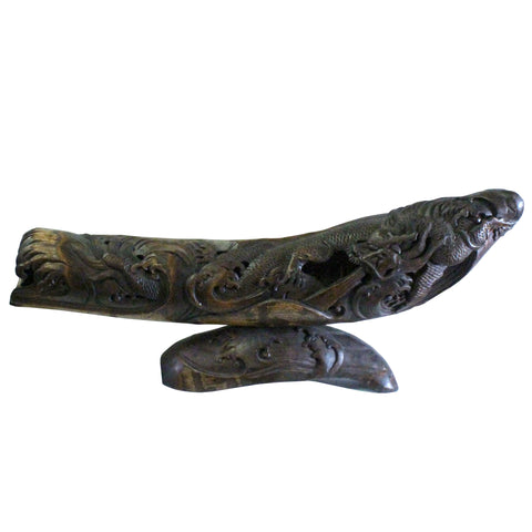 bamboo art - bamboo carving figure - oriental dragon figure