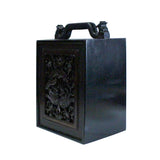 Chinese Handmade Dark Brown Bird Carving Drawers Box cs5232S