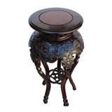 Chinese Huali Rosewood Two Brown Round Curved Legs Plant Stand cs5249S