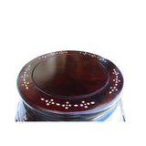 Chinese Red Brown Mahogany Mother of Peal Round Curved Legs Pedestal Stand cs5251S