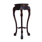 Chinese Red Brown Mahogany Square Curved Legs Pedestal Stand cs5253S