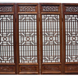 Chinese Brown Geometric Pattern Theme Wood Panel Floor Screen cs5260S