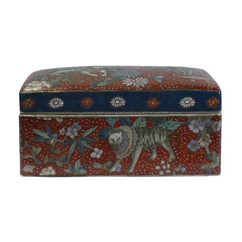 Vintage Oriental Enamel Brick Red Porcelain Rectangular Box Container cs5273S