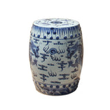 blue white stool - porcelain table - oriental clay ottoman