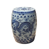 Chinese Blue & White Porcelain Round Double Dragons Theme Stool cs5281S