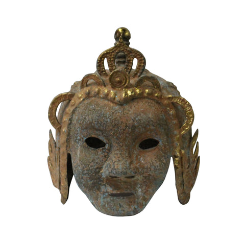 Chinese Oriental Green Bronze-ware Mask Shape Home Decor Display cs5295S
