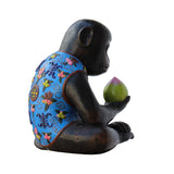 Handmade Brown Bronze Metal Ape Monkey with Peach Figure cs5314S