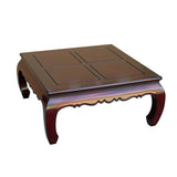 Square coffee table - scroll table - Mahogany brown