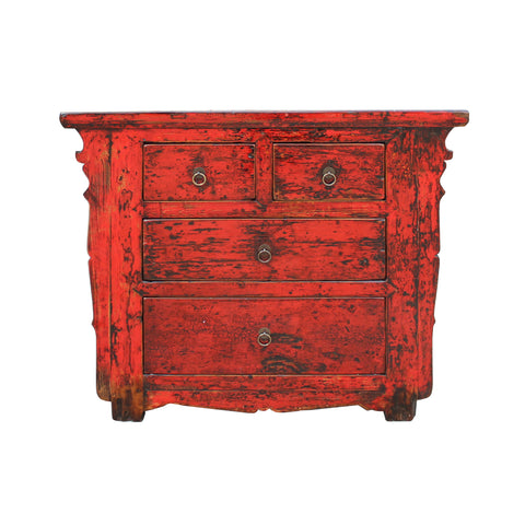 sideboard - foyer table - distressed red cabinet