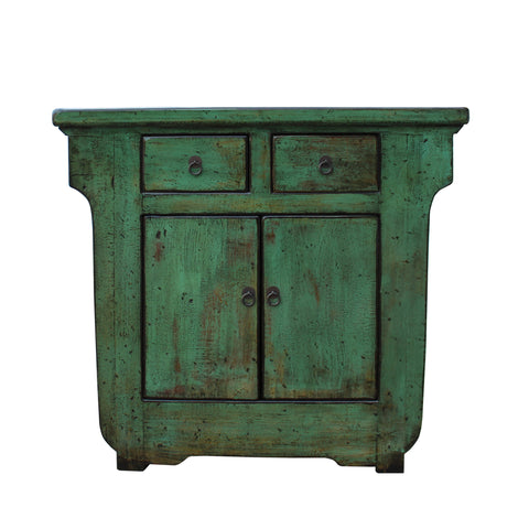 foyer table - credenza - distressed green cabinet