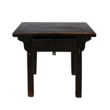 Chinese Iron Hardware Drawer Distressed Brown Side Table cs5333S