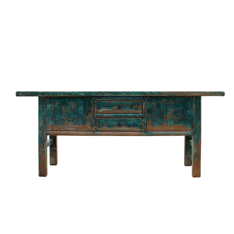 console table - foyer long table - distressed bright blue