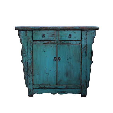 console table - credenza - distressed teal blue