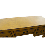 Chinese Distressed Yellow Lacquer 3 Drawers Table Desk cs5342S