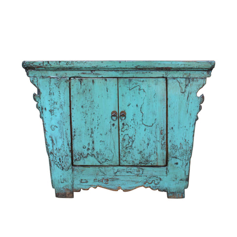 aqua blue - low side table - rustic lacquer chest