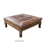 Chinese Rustic Vintage Brown Square Wood Top Kang Coffee Table cs5347S