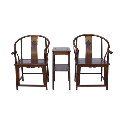 horseshoe armchair set - Chinese armchair set - oriental chairs