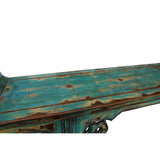 Oriental Distressed Long Teal Blue Scroll Apron Altar Console Table cs5351S
